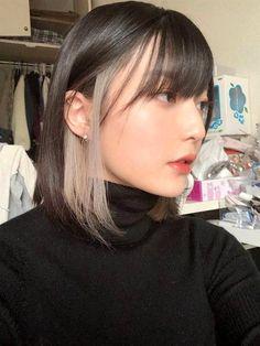 Two Color Hair, Hair Color Streaks, Hair Dye Colors, Peekaboo Hair Colors, Hidden Hair Color, Hair Highlights, Hair Color Ideas For Dark Hair, Types Of Hair Color, Korean Hair Color