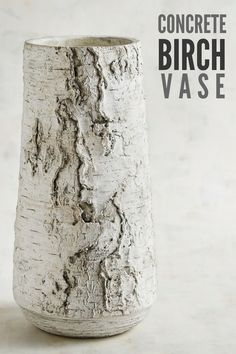 Gorgeous concrete vase. Skillfully hand-painted to mimic real birch, this woodland-inspired vase is the rustic element you're looking for to enhance your home's farmhouse style. #ad #concrete #vase #birch #rustic #farmhouse #cement #homedecor #decoration