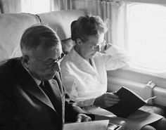 Simone de Beauvoir and Jean-Paul Sartre in a plane at the Orly Airport, Paris, on their way to Japan. February 1967. Photo: Sipa.