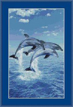 Instant Download! Three Dolphins Cross Stitch Pattern (8047) PDF format for easy printing https://www.etsy.com/shop/InstantCrossStitch