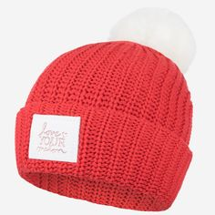 0b9bb343069 Love Your Melon Red Rose Gold Foil Pom Beanie (White Leather) (White Pom