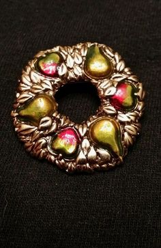 Vintage pear wreath brooch gold tone with red