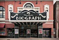 Front, Biograph Theater (1914), 2433 North Lincoln Avenue, Lincoln Park, Chicago, Illinois, USA. Neo-classical 1st generation movie house designed by Samuel N. Crowen (1872-1935). designated Chicago Landmark, 2001 • National Register #84000934, 1984
