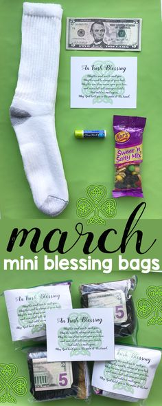 March Mini Blessing Bags with a free printable of a traditional Irish Blessing! Perfect service project for kids!