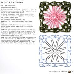 Pattern: Cone Flower Crochet Motif. From Book by Margaret Hubert, The Granny Square Book: Timeless Techniques and Fresh Ideas for Crocheting Square by Square.