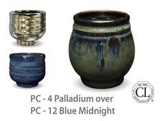 AMACO Potter's Choice layered glazes PC-12 Midnight Blue and PC-4 Palladium.