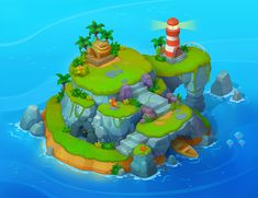 Isometric Islands for Solitaire Dash, Grigoriy Chekmasov Cartoon Island, Isometric Map, Classic Rpg, Maze Design, Badge Icon, Pirate Games, Game Props, Game Concept Art, Animation Background