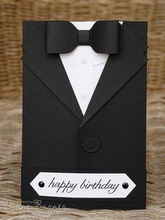JAI 276 Just add male cards suited up tutorial - Tuxedo - Ideas of Tuxedo - masculine suit tuxedo birthday fathers day card with tutorial instructions using Stampin Up supplies. By Di Barnes Birthday Cards For Boyfriend, Birthday Cards For Men, Handmade Birthday Cards, Man Birthday, Diy Cards For Boyfriend, Handmade Cards, Birthday Ideas, Happy Birthday, Masculine Birthday Cards