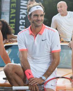 Roger modeling all his endorsements