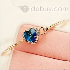 New Arrival Ocean Heart Gorgeous BLue Crystal High Class Lady's Bracelet : Tidebuy.com