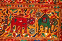 Gujarati Textile, Embroidered elephant, India Colour