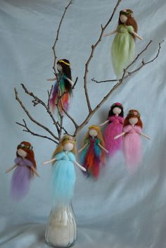 Waldorf inspired needle felted hanging little fairies