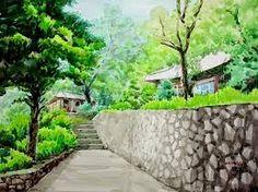 Watercolor Art, Watercolor Basic, Art Lessons Elementary, Colorful Drawings, Art For Kids, Scenery, Sidewalk, Landscape, Illustration