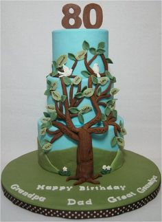 Family Tree for Dad's 80th Birthday - by whitecrafty @ CakesDecor.com - cake decorating website