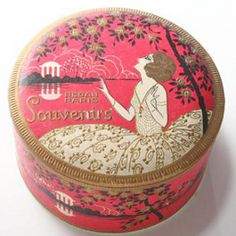 Virtual Museum | Page 4 | International Perfume Bottle Association Powder Puff, Face Powder, Alabaster Jar, Vintage Perfume, Vintage Vanity, Perfume Packaging, Tin Art, Altered Tins, Tin Containers