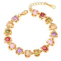Amazon.com: 2015 Unique Bracelet 18K Real Gold Plated Shiny AAA Cubic Zirconia Chain Bracelets: Jewelry