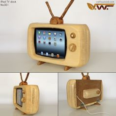 This is a retro, eye-catching iPad docking station designed by valliswood. The docking station is. Wood Crafts, Diy And Crafts, Small Table Saw, Ipad Stand, Tablet Stand, Docking Station, Tv Station, Woodworking Tips, Woodworking Jigsaw