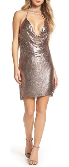 embellished halter neck dress by Mac Duggal. A daring cutout framed by a sparkling crystal halter and a slinky draped neck fronts this shimmering chain-mail dress, embodying '70s glitz and glam with a modern edge. Style Name: Mac Duggal Embellished Halter Neck Dress. Style Number: ... #macduggal #dresses