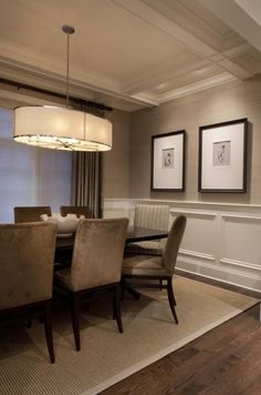 Beautiful wall trim moulding - wainscoting with grasscloth - dining room my Michael Abrams