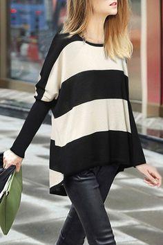 Black Stripe Asymmetrical Long Sleeve Sweater