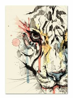 Ink drawing with a kiss of watercolor for added interest. Geometric Lion, Tiger Art, Watercolor Paintings, Watercolour, Watercolor Tiger, Watercolor Portraits, Watercolor Landscape, Abstract Paintings, Watercolor Flowers