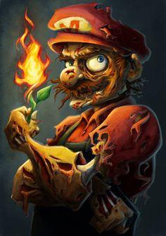 Zombie Mario by Amanda Dockery