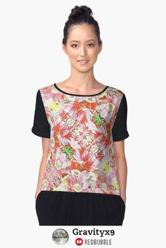K-196 Abstract Pink Flowers Chiffon Top by Gravityx9 Designs by Redbubble - Lovely shades of pink in a kaleidoscope abstract pattern. Choose from white or black sleeves and back.