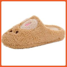 Women House Slippers Winter Indoor Men Bedroom Slipper Cute Rabbit Non-slip (40-41, brown) - Slippers for women (*Amazon Partner-Link)