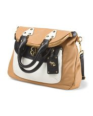 image of Leather Foldover Tote