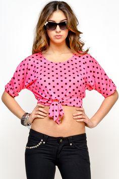 The Hot Pink 50s Polka Dot Cutout Top    $18.80