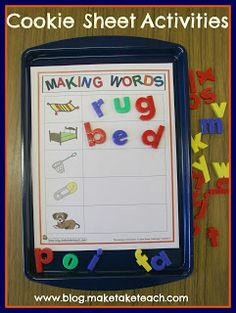 The Cookie Sheet Challenge Literacy Activities Kindergarten Daily 5 Kindergarten, Kindergarten Centers, Literacy Centers, Literacy Stations, Writing Centers, Early Literacy, Writing Area, Reading Centers, Cookie Sheet Activities