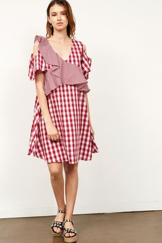 Anel Ruffle Gingham Check Dress Discover the latest fashion trends online at storets.com #dresses #checkereddresses #ginghamdresses #ruffledresses #fashion #ootd #storetsonme