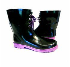 BarefootTess.com B.F.T. by Barefoot Tess 'Portland' Rain Boot (Black & Purple)