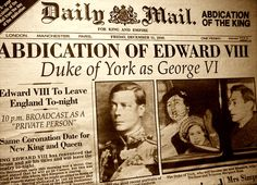 "Edward VIII abdicates. His brother (subject of the movie and book ""the king's speech"", looks shocked"