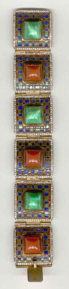 Cloisonné Enameled Link Bracelet   Austria, circa 1935    Blue, green and red enameled copper, carré-cut glass paste stones imitating jade and carnelian, rhinestones, length 6 3/4 inches, Signed Made in Austria.  Today is the day I have been finding lots of cloisonné.