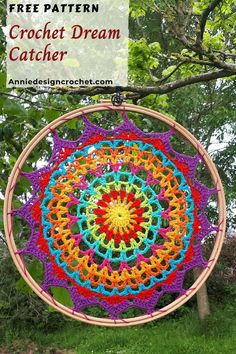 crochet mandala pattern Crochet Mandalas are very popular! This easy Free Crochet Pattern is my version of this lovely art form, which can be used as a table doily/mat, or turne Crochet Wall Art, Crochet Wall Hangings, Crochet Diy, Crochet Home, Crochet Crafts, Crochet Projects, Simple Crochet, Macrame Projects, Crochet Dreamcatcher Pattern Free