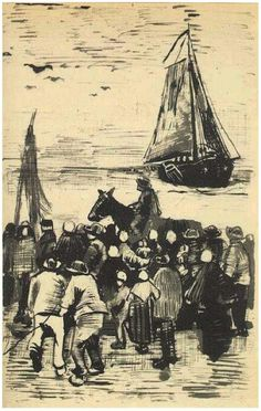 Vincent van Gogh Letter Sketches, The Hague: 18-Sep, 1882 Van Gogh Museum Amsterdam, The Netherlands, Europe F: 231, JH: 205 Image Only - Van Gogh: Group of People on the Beach with Fishing Boat Arriving