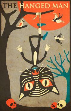 Tarot Card Cat: The Hanged Man Art Print by Jazzberry Blue Find out what The… Hanged Man Tarot, The Hanged Man, Buy Tarot Cards, La Danse Macabre, Tarot Major Arcana, Oracle Cards, Tarot Decks, Occult, Cat Art