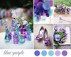 blue and purple wedding inspiration board