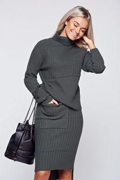 Comanda online, Set verde-inchis casual tricotat cu buzunare. Articole masurate, calitate garantata!