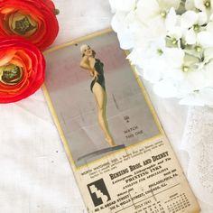 Antique Pin-Up Girl Litho Bathing Beauty print Advertising Calendar Vintage 1940's decor decorative illustration Hollywood earl Moran by WonderCabinetArts