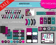 DIY MONSTER HIGH Deluxe Birthday Party Collection by BraikDesign, $20.00