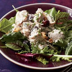 Walnut-Cranberry Turkey Salad | The dressing for this light, delicious turkey salad is made with low-fat mayonnaise, yogurt and chopped herbs.