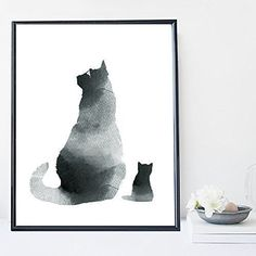 Black cat watercolor wall art print poster - unframed. I am a Canadian based artist and all artwork is done by me in my studio. This is an UNFRAMED archival high quality print of my original illustration. It is printed on Moab 100% cotton archival fine art heavy paper. Your print will be signed and dated in the back and carefully packaged with sturdy backings and sleeves. Larger prints are shipped rolled in a mailing tube to minimize the risk of damage. NOTE: Depending on your monitor...