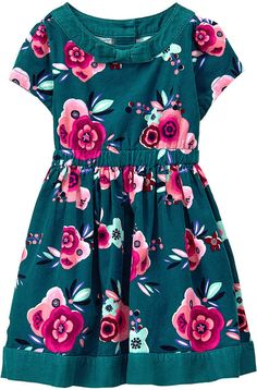 Green Floral Corduroy Fit & Flare Dress - Infant