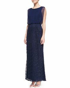 T81BK Aidan Mattox Sleeveless Sequin Blouson Gown, Twilight Blue