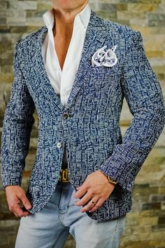 S by Sebastian 18' Collection Tweed Blu Cascata Jacket. Get yours today. Coupon code: BeBold