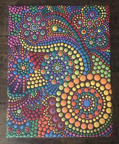 Dot painting art Lauren B Montana Aboriginal Dot Painting, Dot Art Painting, Pebble Painting, Painting Patterns, Pebble Art, Stone Painting, Diy Painting, Dot Painting Tools, Mandala Rocks