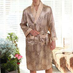 56ed599e5a0 Pockets Thin Silk Liked Long Sleeve Robes for Men - Newchic Ανδρική Ένδυση,  Εκτύπωση