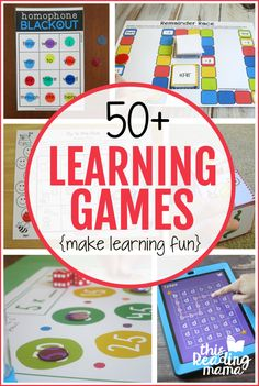 Learning games are a fantastic way to motivate reluctant learners and make learning fun for all learners. Find over 50 FREE learning games for your learners in this post! Rhyming Activities, Phonics Games, Learning Activities, Kids Learning, Kindergarten Activities, Learning To Read Games, Reading Games, Letter Learning Games, Reading Strategies